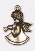 Breloque en métal ange de Noël 25x18 mm bronze x1