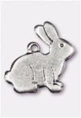 Breloque en métal lapin 15x15 mm argent vieilli x2