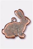 Breloque en métal lapin 15x15 mm cuivre x2