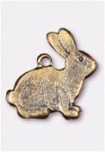 Breloque en métal lapin 15x15 mm bronze x2
