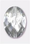 Palet ovale à facettes en acrylique 37x27 mm crystal x1