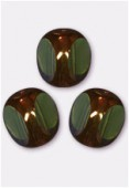 Perle 3-cut picasso 10 mm olivine antiqued bronze x6