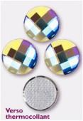 Strass HOTFIX chessboard circle 2035 14 mm crystal AB M HF x1