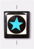 Perle en os étoile bleue 25x25 mm x1