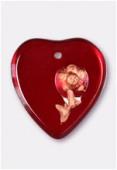 Pendentif coeur fleur gravée 16x17 mm siam copper x1