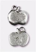 Breloque en métal pomme 11x10 mm argent vieilli x2
