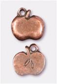 Breloque en métal pomme 11x10 mm cuivre x2