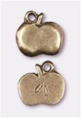 Breloque en métal pomme 11x10 mm bronze x2