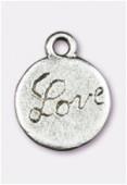 Breloque en métal love 13 mm argent vieilli x2