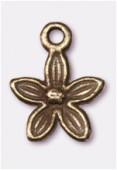 Breloque en métal fleur 13x10 mm bronze x2