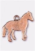 Breloque en métal cheval 19x17 mm cuivre x2