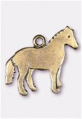 Breloque en métal cheval 19x17 mm bronze x2