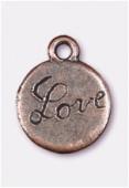 Breloque en métal love 13 mm cuivre x2