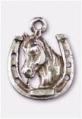 Breloque en métal cheval + fer 17x14 mm argent vieilli x1