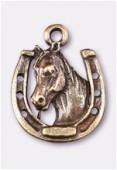 Breloque en métal cheval + fer 17x14 mm bronze x1