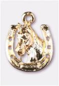 Breloque en métal cheval + fer 17x14 mm or x1