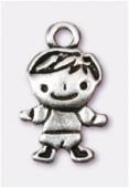 Breloque en métal bambino 13x10 mm argent vieilli x2