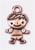 Breloque en métal bambino 13x10 mm cuivre x2
