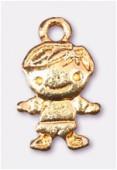 Breloque en métal bambino 13x10 mm or x2
