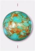 Turquoise reconstituée teintée ronde 16 mm x1