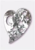 Argent 925 breloque coeur martelé 23x16 mm x1