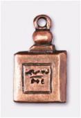 Breloque en métal flacon parfum 18x10 mm cuivre x1
