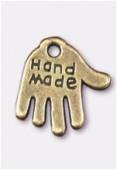 Breloque en métal hand made 13x12 mm bronze x2