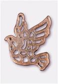 Breloque en métal colombe ajourée 24x21 mm cuivre x2