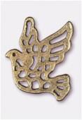 Breloque en métal colombe ajourée 24x21 mm bronze x2