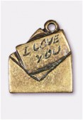 Breloque en métal enveloppe I love You 17x14 mm bronze x2