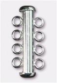 Argent 925 fermoir tube 4 rangs 26x4,3 mm x 1