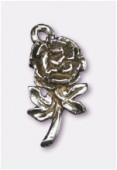 Breloque en métal rose 16x8 mm argent vieilli x2