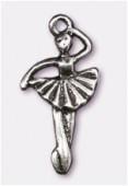 Breloque en métal danseuse 26x13 mm argent vieilli x1