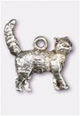 Breloque en métal chat 17x15 mm argent vieilli x1