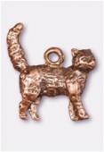 Breloque en métal chat 17x15 mm cuivre x1