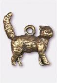 Breloque en métal chat 17x15 mm bronze x1