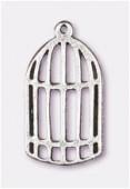 Breloque en métal cage 24x13 mm argent vieilli x2