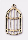 Breloque en métal cage 24x13 mm bronze x2