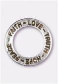 Breloque en métal anneau Hope 22 mm argent vieilli x1