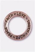 Breloque en métal anneau Hope 22 mm cuivre x1