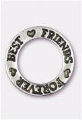 Breloque en métal Best friends forever 22 mm argent vieilli x1