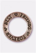 Breloque en métal Best friends forever 22 mm cuivre x1