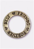 Breloque en métal Best friends forever 22 mm bronze x1