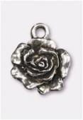 Breloque en métal rose 13 mm argent vieilli x2