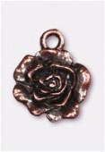 Breloque en métal rose 13 mm cuivre x2