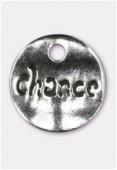 Breloque en métal sequin martelé Chance 15 mm argent vieilli x2