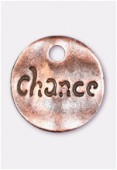 Breloque en métal sequin martelé Chance 15 mm cuivre x2