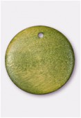 Perle en bois palet rond vert 23 mm x1