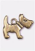 Breloque en métal chien 10x16 mm bronze x2