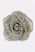 Fleur en maille métallique 25 mm argent vieilli x1